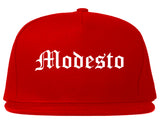 Modesto California CA Old English Mens Snapback Hat Red