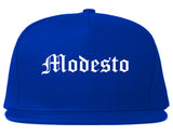 Modesto California CA Old English Mens Snapback Hat Royal Blue