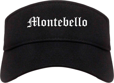 Montebello California CA Old English Mens Visor Cap Hat Black