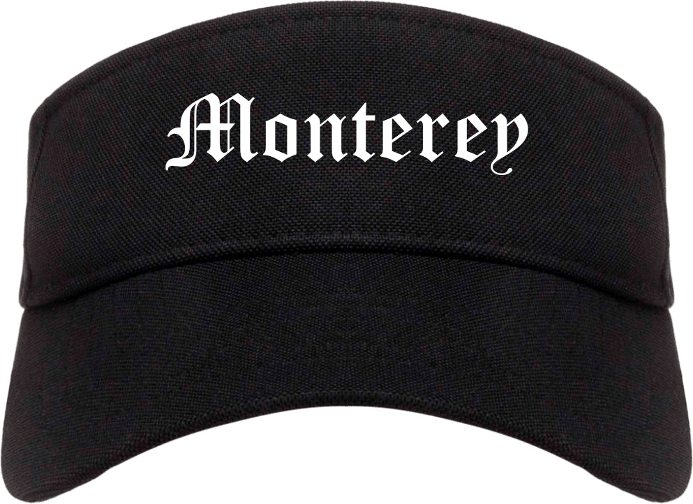 Monterey California CA Old English Mens Visor Cap Hat Black