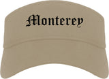Monterey California CA Old English Mens Visor Cap Hat Khaki