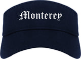 Monterey California CA Old English Mens Visor Cap Hat Navy Blue