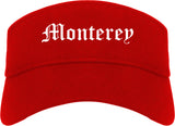 Monterey California CA Old English Mens Visor Cap Hat Red