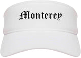 Monterey California CA Old English Mens Visor Cap Hat White