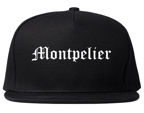 Montpelier Vermont VT Old English Mens Snapback Hat Black