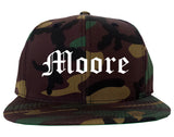 Moore Oklahoma OK Old English Mens Snapback Hat Army Camo