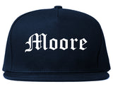 Moore Oklahoma OK Old English Mens Snapback Hat Navy Blue