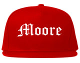 Moore Oklahoma OK Old English Mens Snapback Hat Red