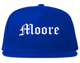 Moore Oklahoma OK Old English Mens Snapback Hat Royal Blue