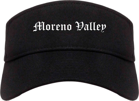 Moreno Valley California CA Old English Mens Visor Cap Hat Black