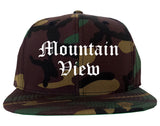 Mountain View California CA Old English Mens Snapback Hat Army Camo