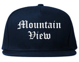 Mountain View California CA Old English Mens Snapback Hat Navy Blue