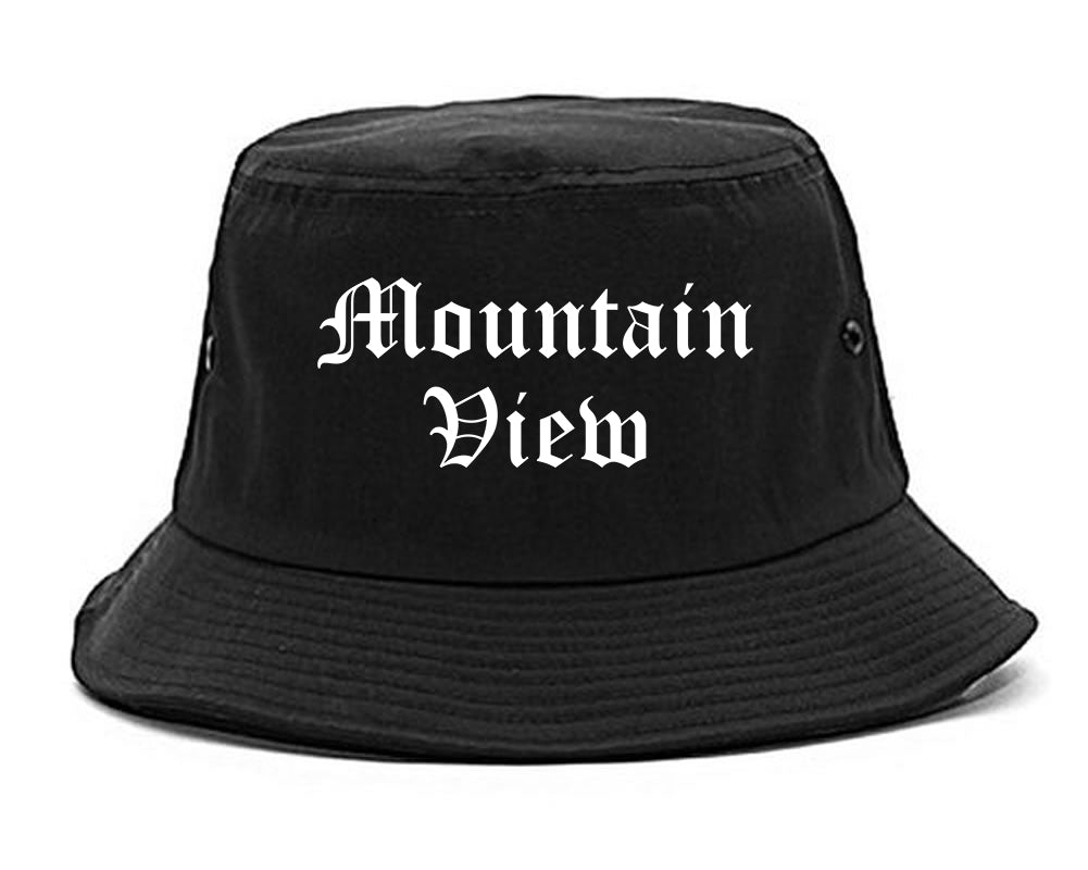 Mountain View California CA Old English Mens Bucket Hat Black