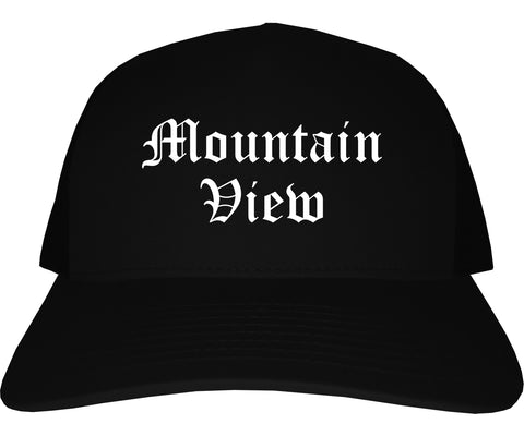 Mountain View California CA Old English Mens Trucker Hat Cap Black