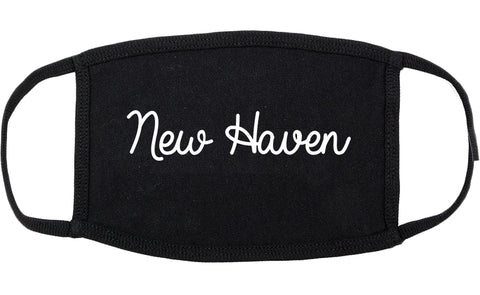 New Haven Connecticut CT Script Cotton Face Mask Black