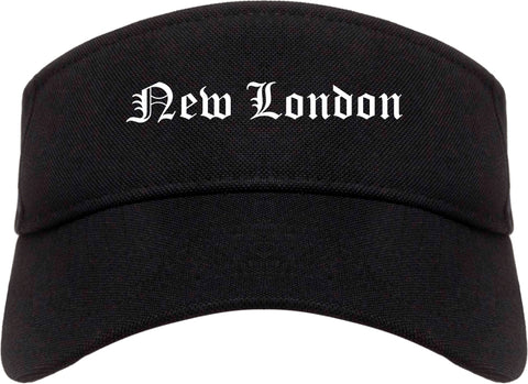 New London Connecticut CT Old English Mens Visor Cap Hat Black