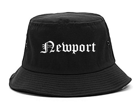 Newport Vermont VT Old English Mens Bucket Hat Black