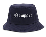 Newport Vermont VT Old English Mens Bucket Hat Navy Blue