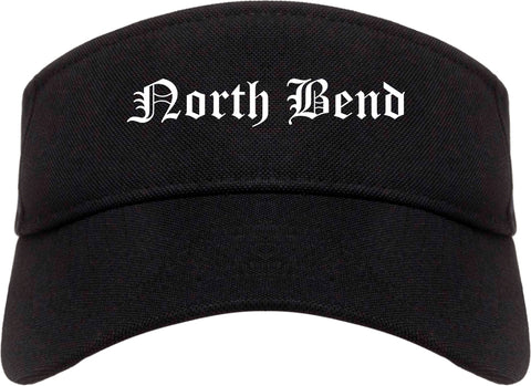 North Bend Oregon OR Old English Mens Visor Cap Hat Black