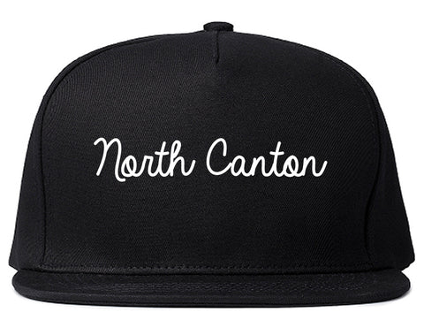 North Canton Ohio OH Script Mens Snapback Hat Black