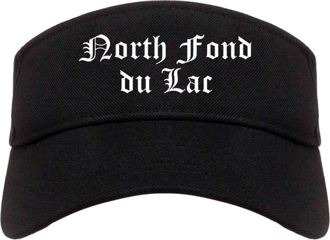 North Fond du Lac Wisconsin WI Old English Mens Visor Cap Hat Black