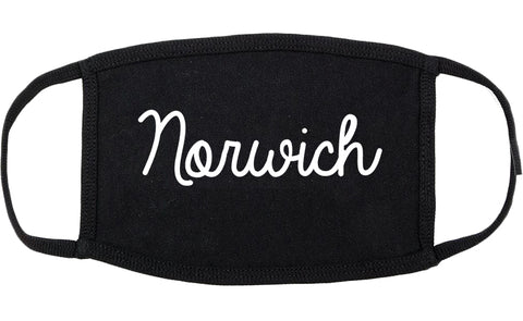 Norwich Connecticut CT Script Cotton Face Mask Black