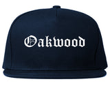 Oakwood Georgia GA Old English Mens Snapback Hat Navy Blue