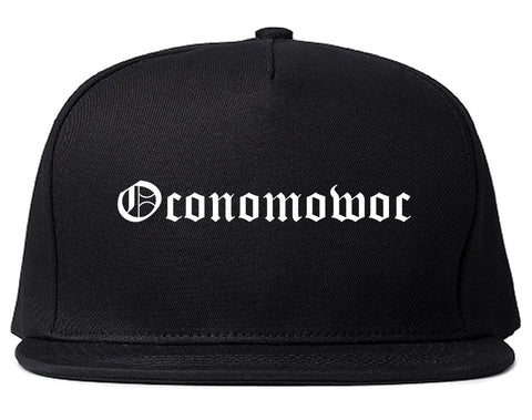 Oconomowoc Wisconsin WI Old English Mens Snapback Hat Black