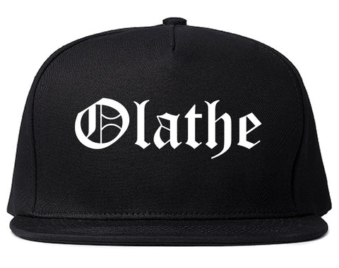 Olathe Kansas KS Old English Mens Snapback Hat Black