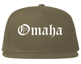 Omaha Nebraska NE Old English Mens Snapback Hat Grey