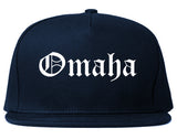 Omaha Nebraska NE Old English Mens Snapback Hat Navy Blue