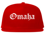 Omaha Nebraska NE Old English Mens Snapback Hat Red