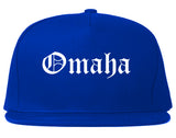 Omaha Nebraska NE Old English Mens Snapback Hat Royal Blue