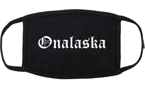 Onalaska Wisconsin WI Old English Cotton Face Mask Black