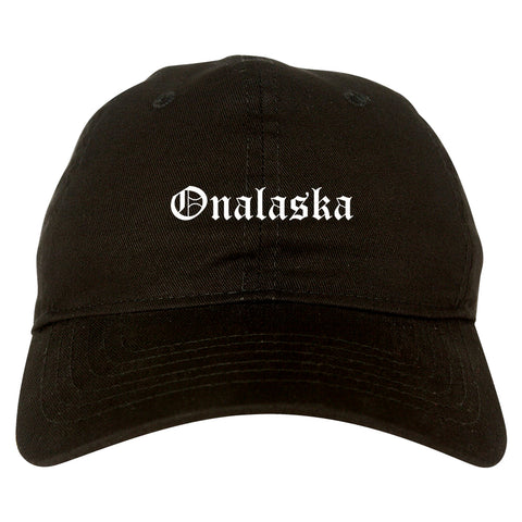 Onalaska Wisconsin WI Old English Mens Dad Hat Baseball Cap Black
