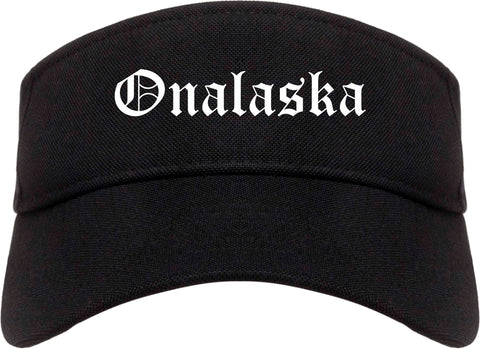 Onalaska Wisconsin WI Old English Mens Visor Cap Hat Black