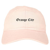 Orange City Iowa IA Old English Mens Dad Hat Baseball Cap Pink