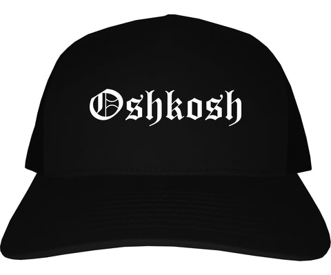 Oshkosh Wisconsin WI Old English Mens Trucker Hat Cap Black
