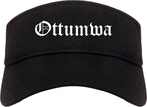 Ottumwa Iowa IA Old English Mens Visor Cap Hat Black