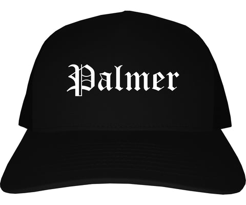 Palmer Alaska AK Old English Mens Trucker Hat Cap Black