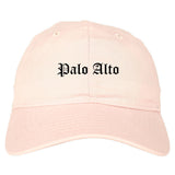 Palo Alto California CA Old English Mens Dad Hat Baseball Cap Pink