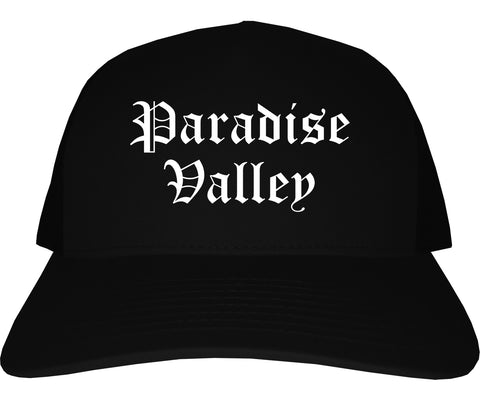 Paradise Valley Arizona AZ Old English Mens Trucker Hat Cap Black