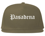 Pasadena California CA Old English Mens Snapback Hat Grey