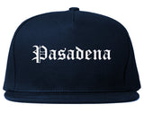 Pasadena California CA Old English Mens Snapback Hat Navy Blue
