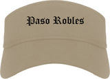 Paso Robles California CA Old English Mens Visor Cap Hat Khaki