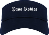 Paso Robles California CA Old English Mens Visor Cap Hat Navy Blue