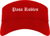 Paso Robles California CA Old English Mens Visor Cap Hat Red