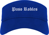 Paso Robles California CA Old English Mens Visor Cap Hat Royal Blue
