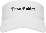 Paso Robles California CA Old English Mens Visor Cap Hat White