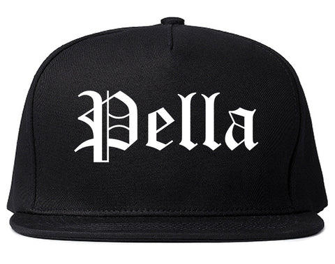 Pella Iowa IA Old English Mens Snapback Hat Black